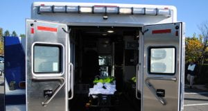 The photo shows the back of an ambulance.