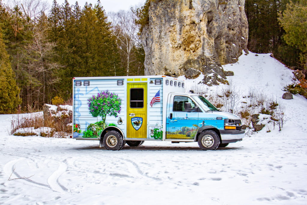 The new Mackinac Island ambulance has four-wheel drive installed by Quigley 4x4, and is powered by a 6-liter V* gasoline engine, and an automatic transmission.