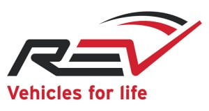 The photo shows the REV Group logo.
