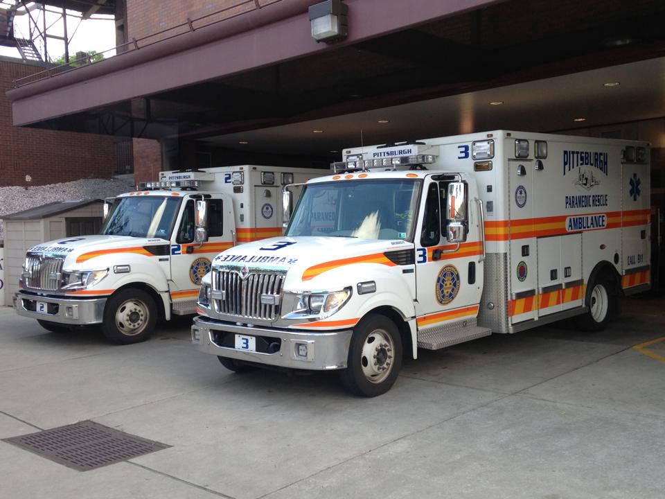 Two ambulances with Pittsburgh EMS.