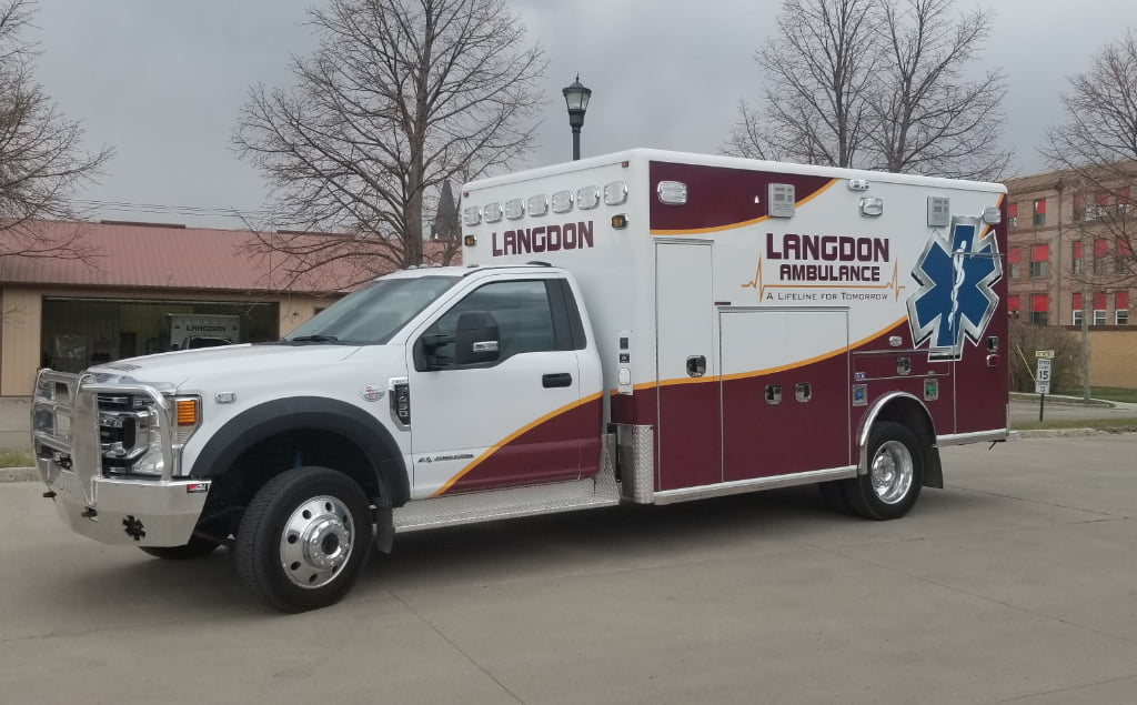 On May 14, 2021, Langdon Ambulance took delivery of a Horton Ambulance from REV Group and Premier Specialty Vehicle. The ambulance is a 4X4 so it can handle rough farm roads and snow in the winter.