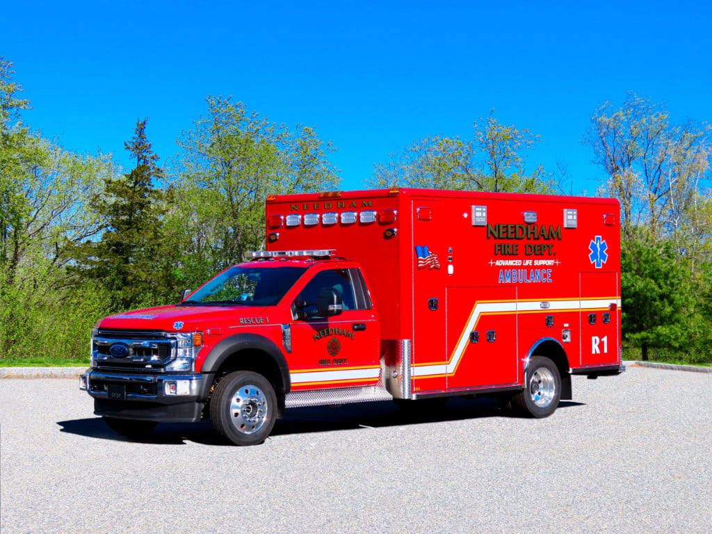 Needham (MA) Fire Department had Horton Emergency Vehicles build this Type 1 advanced life support (ALS) ambulance on a Ford F-550 4x4 Super Duty chassis.
