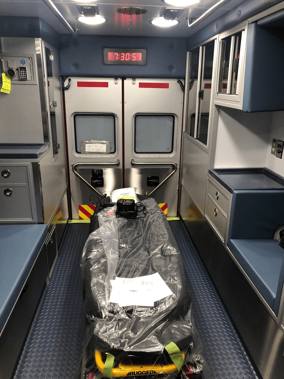 The patient module in the Needham ALS ambulance has a Stryker PowerLOAD and PowerCOT system.