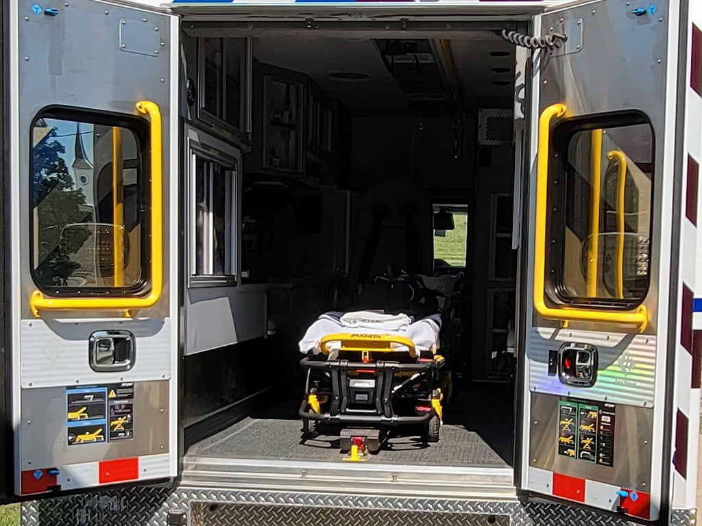 Bay Ambulance's new rig has a Stryker Power-LOAD and Power-Pro XT cot in the patient module.