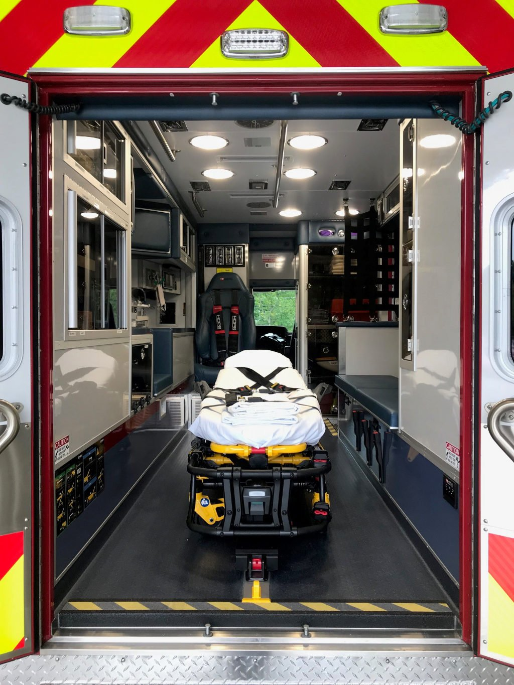 The North Andover ambulance has a Stryker PowerLOAD® fastening system, and a Stryker Power-PRO® XT cot in its walk-through chassis and box.
