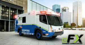 A rendering of Demers' electric ambulance.